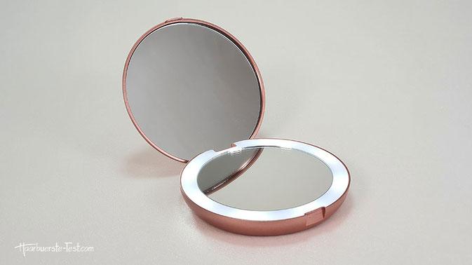 schminkspiegel rosegold, kosmetikspiegel rosegold, taschenspiegel mit licht