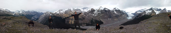 on top of parker ridge - a hail storm and stunning glacier views - our best hike so far!