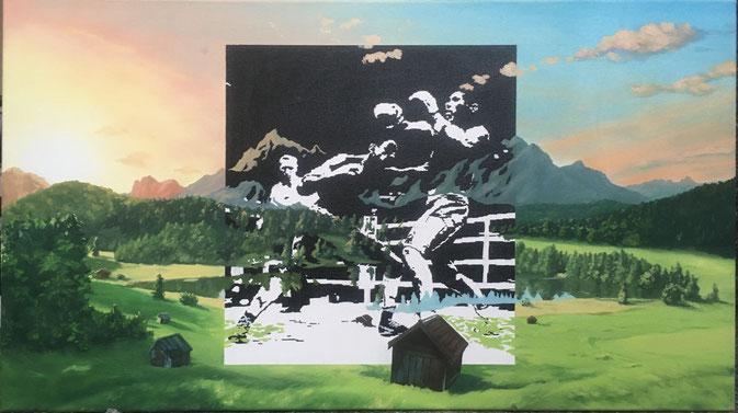 o.T., 2020, Öl und acryl auf Leinwand, 45x80 cm