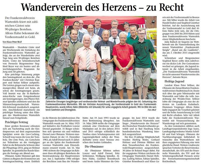 Bericht aus der Frankenpost Kulmbach vom 12.08.2015