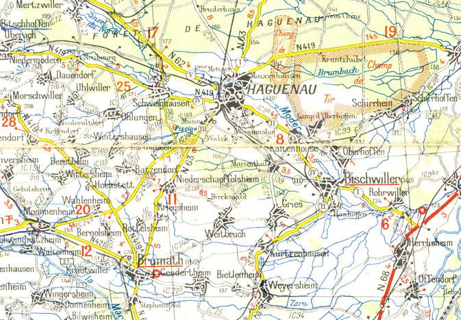 Carte Michelin Nord Alsace - secteur Haguenau, 1939