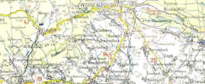 Carte Michelin du Nord Alsace - secteur Wissembourg, 1939