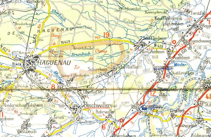 Carte Michelin Nord Alsace - secteur Haguenau/Rhin, 1939