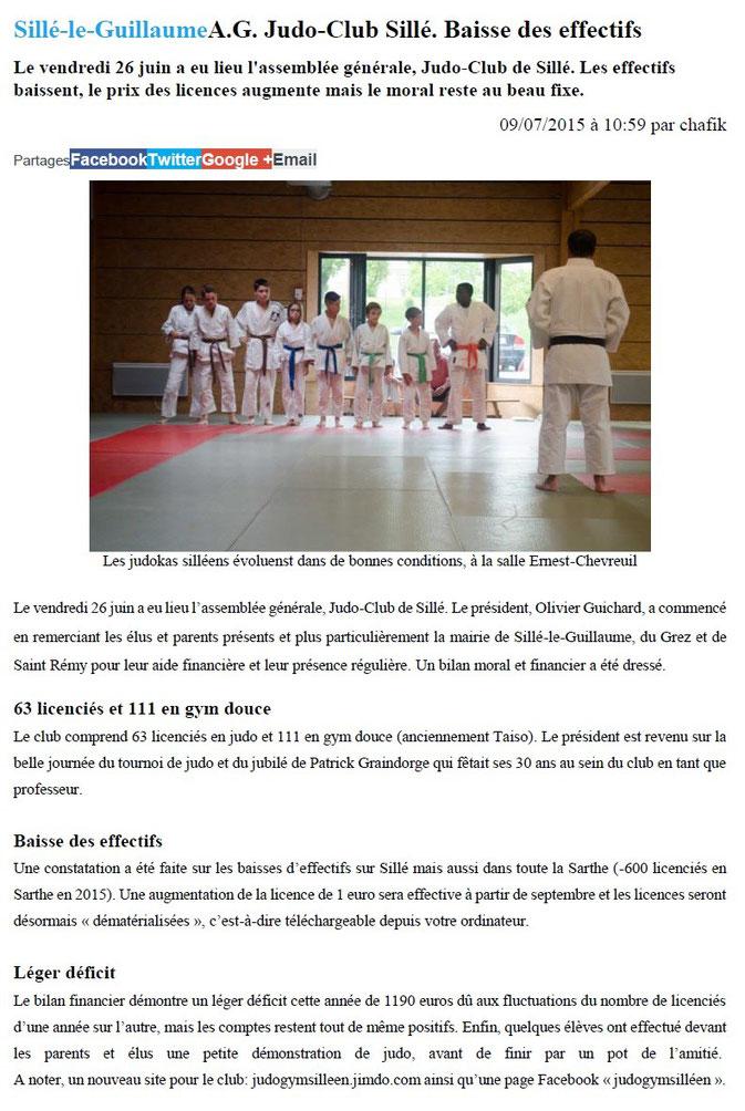 Alpes Mancelles 09/07/2015 Judo Sillé le Guillaume : AG Judo-Club Sillé. Baisse des effectifs