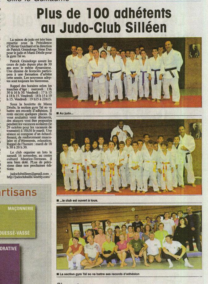 Alpes Mancelles 10/2013 Judo de Sillé le Guillaume : plus de 100 adhérents au judo club Silléen