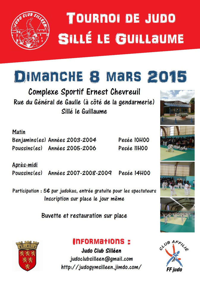 Tournoi de judo à Sillé le Guillaume Dimanche 8 mars 2015