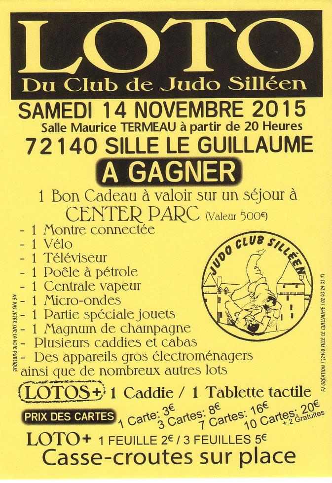 Loto du Judo Club Silléen - Samedi 14 novembre 2015 - Centre culturel Maurice Termeau à Sillé le Guillaume