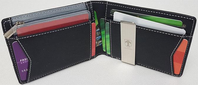 Kartenetui Herren mit Geldklammer und Münzfach, Kartenetui mit Geldklammer, Kartenetui mit Reißverschluss