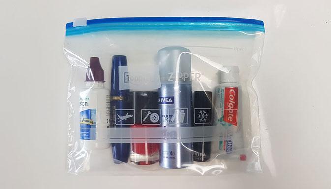 Flüssigkeiten im Flugzeug, handgepäck deo, parfum im Handgepäck, lippenstift handgepäck, handgepäck parfum, handgepäck haaarspray