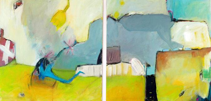 o. T., 2016, Acryl auf Leinwand, je 60x60 cm