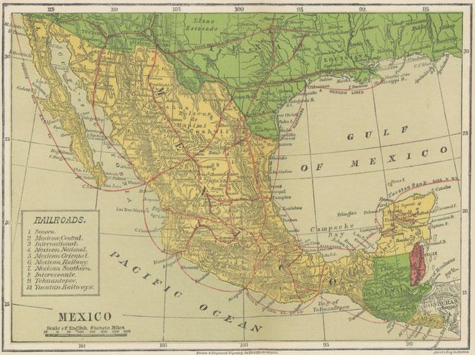 Historische Landkarte von Mittelamerika