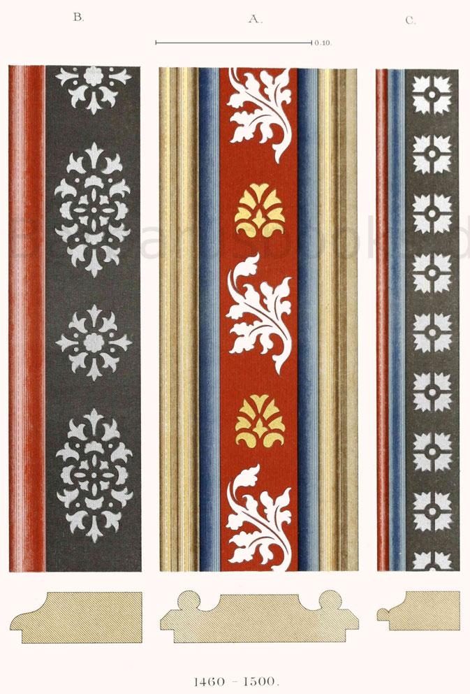 Bemalte Rahmenleisten aus der zweiten Hälfte des 15. Jahrhunderts.