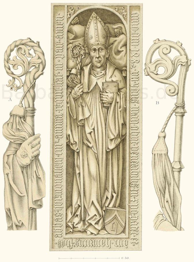 Grabdenkmal, haut-relief in grauem Sandstein des Heinrich Fries (gest. 1482), Abt von St. Ulrich in Augsburg.