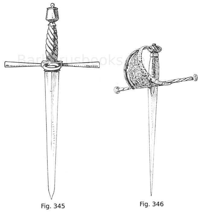 Fig. 345. Reiterdolch mit Griff aus Eisen, langen Parierstangen und einfachem Parierring. Italienisch um 1560.