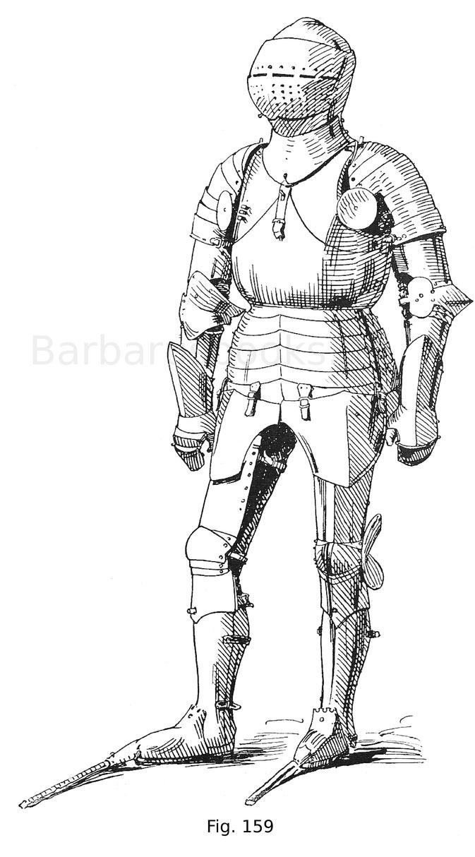 Fig. 159. Ganzer Harnisch Friedrichs des Siegreichen, Pfalzgrafen am Rhein (1425—1476). Arbeit des Mailänder Plattners Tomaso da Missaglia um 1450. Vorderseite.