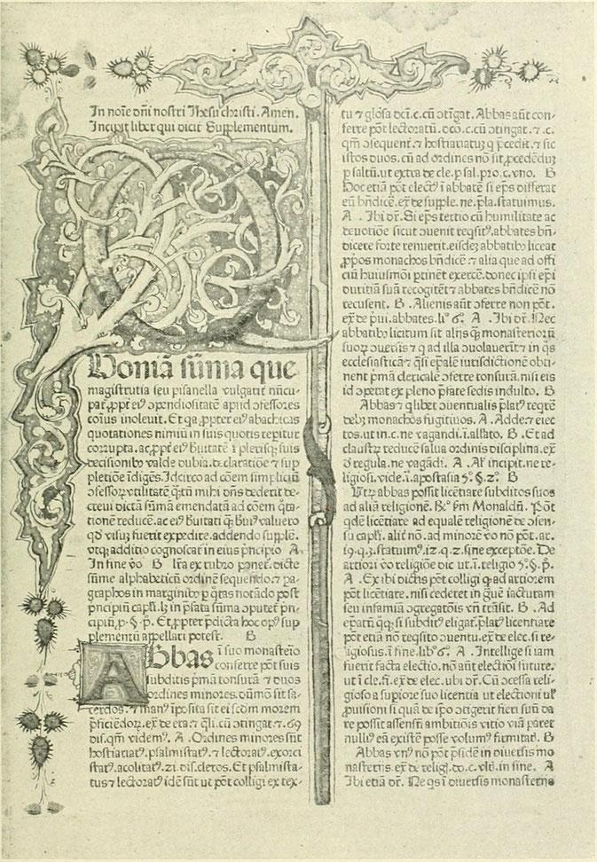 Ausmo vel Auxmo. Nicolaus de. Supplementum summae Pisanellae. Venetiis, Franciscus Renner de Hailbrunn et Nicolaus de Francfordia, 1474, in-fol. Avec une grande es 26 petites initiales ornem. peintes en couleurs et rehaussée d`or. Anc. rel. ais de bois re