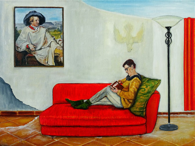 """und Goethe"", Ölgemälde 80x60x2 cm, Judith Maria Brennike 2019"
