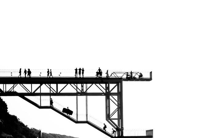 Ostsee, Seebrücke, Polen, Poland, up and down, shadows, Schwarzweissfotografie, kreative Fotografie, Fototipps