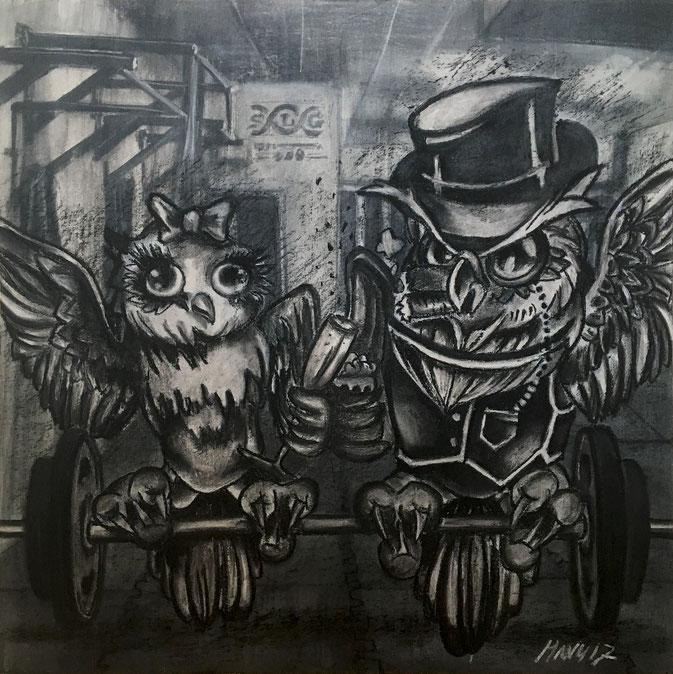 Crossfit Gym Owls 2017 - Acryl, Kreide auf Leinwand, 60 x 60 cm