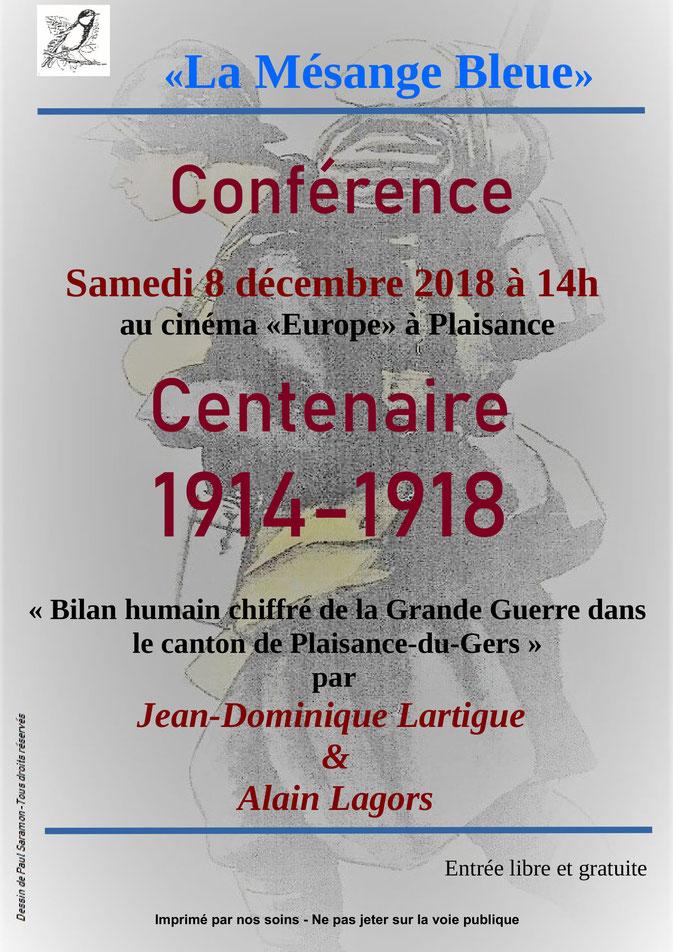 Plaisance du Gers Grande Guerre Alain Lagors Jean-Dominique Lartigue