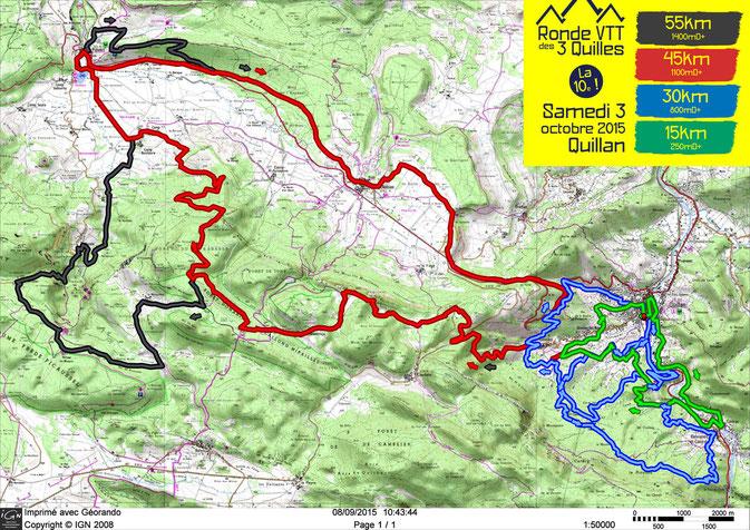 Ronde VTT des 3 Quilles 2015 - Plan des parcours