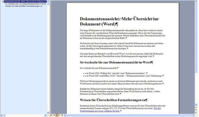 Dokumentenansicht: Mehr Übersicht im Dokument (Word)