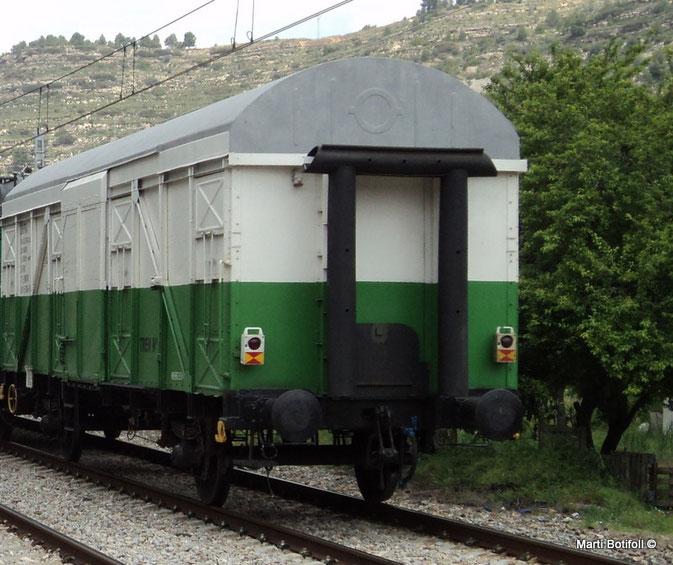 Imagen 2: Vehículo de cola de un tren convencional con las señales reglamentarias. No puede saberse si en el momento de la circulación estaban encendidas o apagadas, ya que funcionan a destellos. De todos modos, cumplirían con las prescripciones de arriba