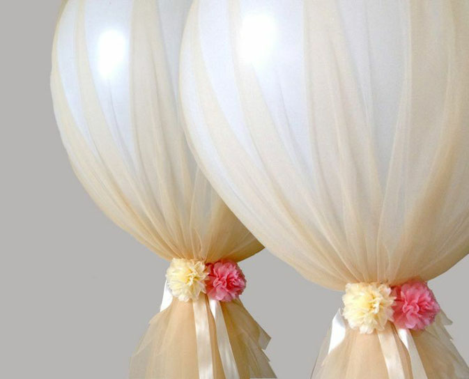 ideas de arreglos con globos y tela