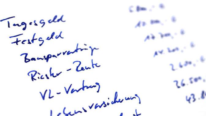 Vermögensaufstellung auf einem Blatt Papier.