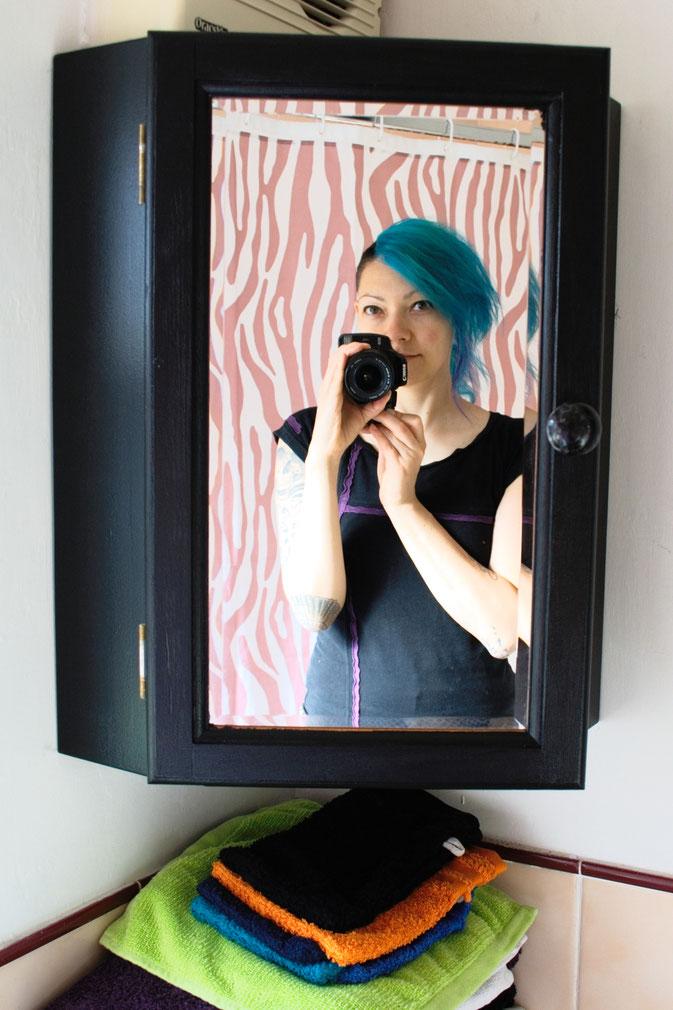 DIY zu Hause - so lebe ich - Spiegelschrank und Zebra-Duschvorhang - Zebraspider DIY Blog
