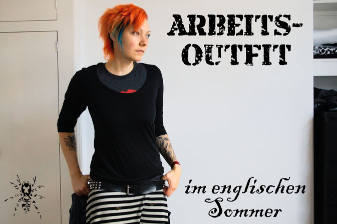 Arbeitsoutfit im englischen Sommer - schlicht und bequem - Zebraspider DIY Anti-Fashion Blog