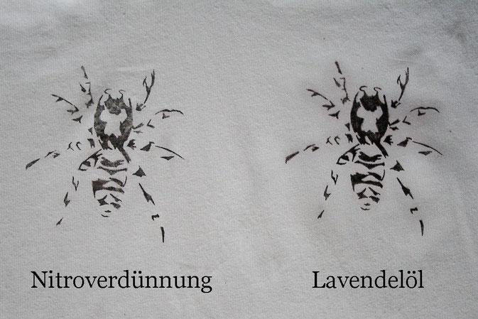 Testreihe - Nitrofrottage vs. Lavendeldruck - direkter Vergleich - Zebraspider DIY Blog