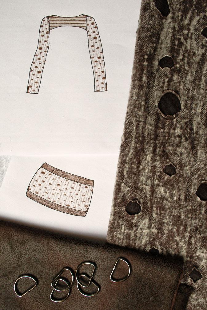 Fetzen-Minirock aus neuen Stoffen - fertig hinten - Zebraspider DIY Blog