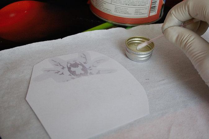 Testreihe - Nitrofrottage vs. Lavendeldruck - Nitroverdünnung - Zebraspider DIY Blog