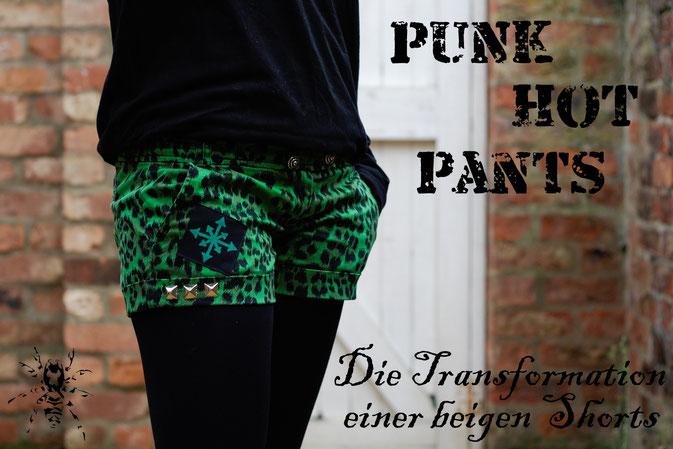 Punk Hot Pants Projekt - Leopard Grün färben - Zebraspider DIY Blog