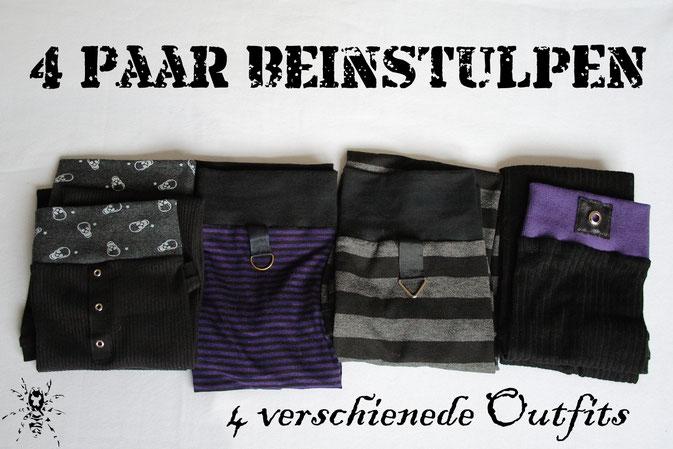 4 Paar Beinstulpen - 4 verschiedene Outfits - Zebraspider DIY Blog