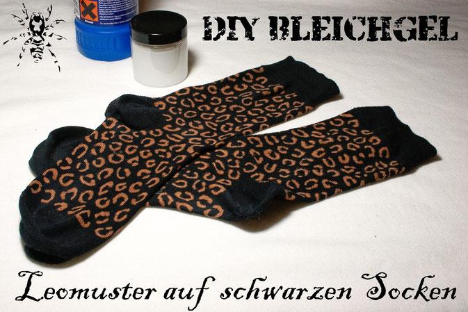 DIY Bleichgel - Leomuster auf schwarzen Socken - Zebraspider DIY Blog
