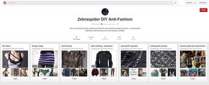 Zebraspider DIY Anti-Fashion Pinterest Seite