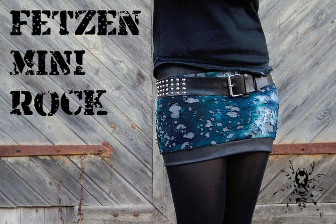 Fetzen-Minirock aus neuen Stoffen - Zebraspider DIY Blog