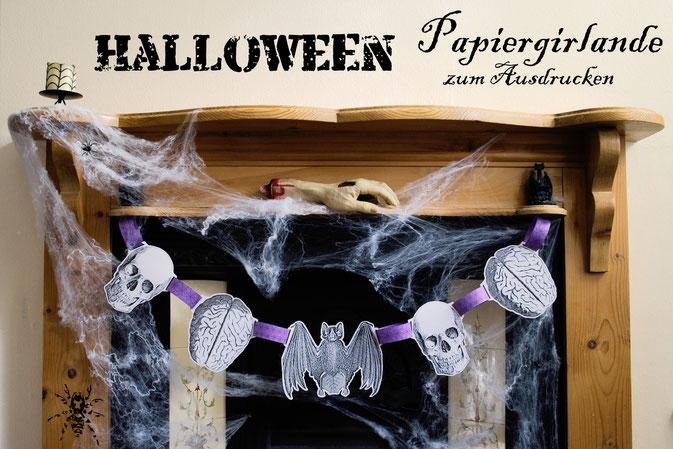 Halloween Papiergirlande - kostenloses Printable - Zebraspider DIY Blog