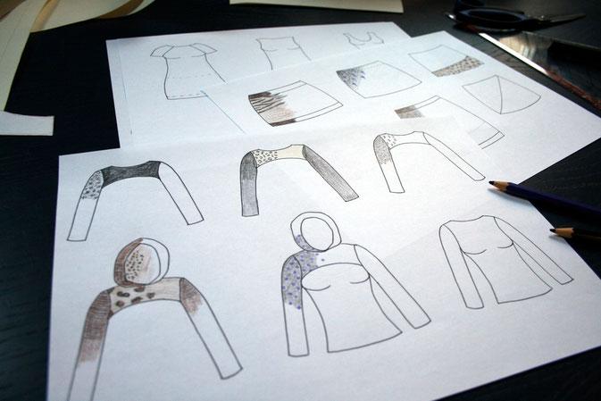 Zeichnungen: Shrugs und Miniröcke