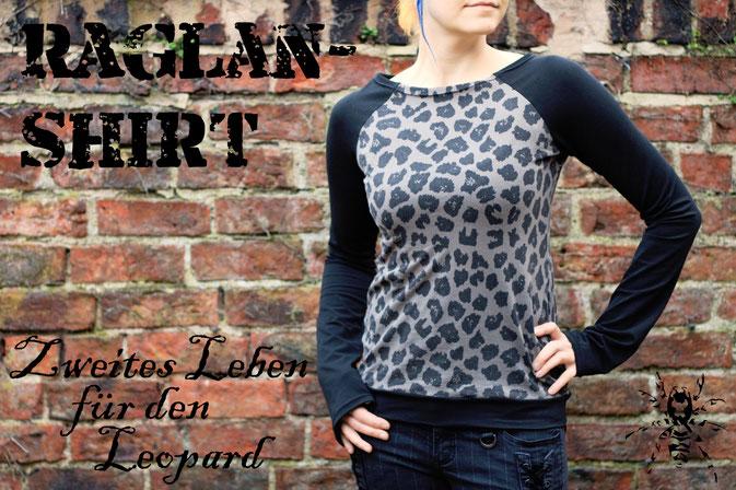Zweites Leben für den Leopard - Raglanshirt - Zebraspider DIY Anti-Fashion Blog