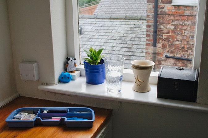 Rundgang durch mein Nähzimmer in England - Deko Fensterbank- Zebraspider DIY Blog