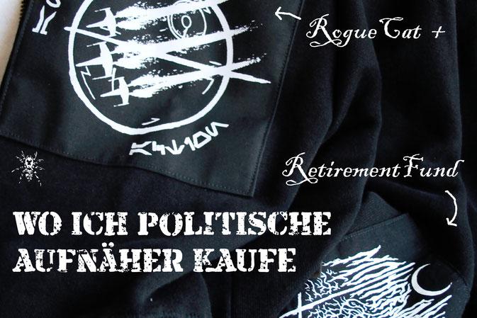 Wo ich politische Aufnäher kaufe - RougeCat und RetirementFund auf Etsy - Zebraspider DIY Anti-Fashion Blog