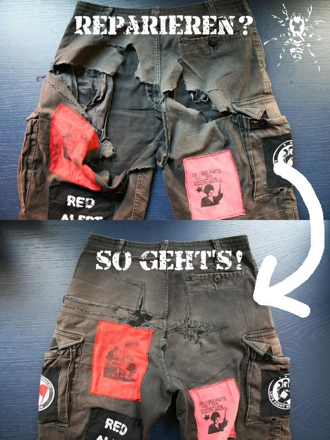 Hose reparieren: Risse mit Stoff unterlegen, kleben und festnähen