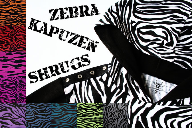 Die neuen Zebrakapuzenshrugs - in 10 Farben - Zebraspider DIY Anti-Fashion Blog