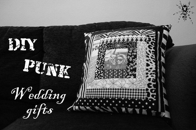 DIY Punk Wedding Gifts - Patchwork Foto Kissenhülle - Zebraspider DIY Blog