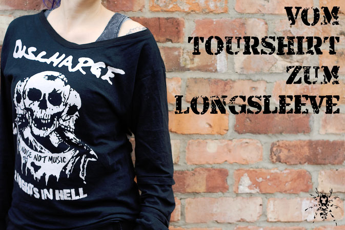 Vom Discharge Tourshirt zum Longsleeve - Zebraspider DIY Anti-Fashion Blog