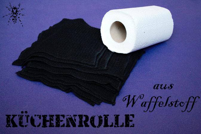 Küchenrolle aus Waffelstoff - umweltfreundliche Alternative - Zebraspider DIY Anti-Fashion Blog
