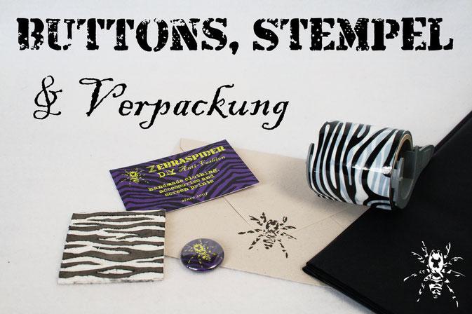 Buttons, Stempel und Verpackung - umweltfreundlich mit Recycling Papier - Zebraspider DIY Anti-Fashion Blog